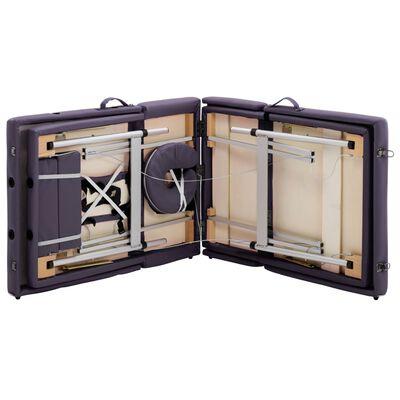 vidaXL Hopfällbar massagebänk 4 sektioner aluminium lila