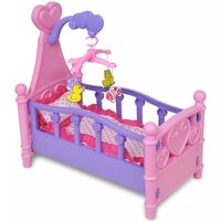 Spjälsäng för dockor rosa och lila