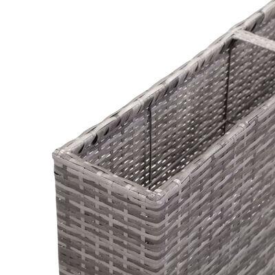 vidaXL Odlingslåda upphöjd med 3 krukor 150x20x40 cm konstrotting grå, Grå