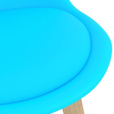 vidaXL Barstolar 4 st blå PP och massivt bokträ