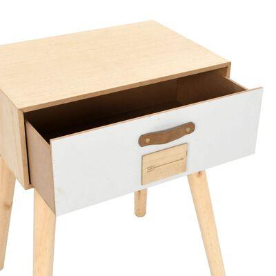vidaXL Sängbord med låda 44x30x58,5 cm massiv furu