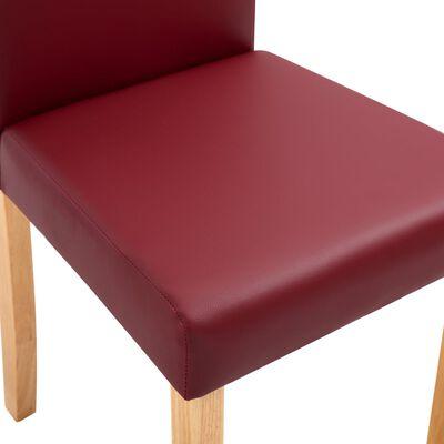 vidaXL Matstolar 6 st röd konstläder