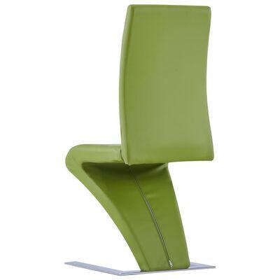 vidaXL Matstolar med sicksack-form 2 st grön konstläder