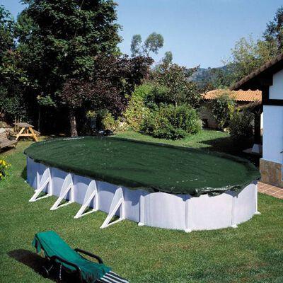 Summer Fun Poolöverdrag för vinter oval 725 cm PVC grön
