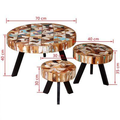 vidaXL Soffbord 3 delar massivt återvunnet trä