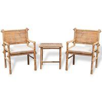 vidaXL Caféset med dynor 3 delar bambu