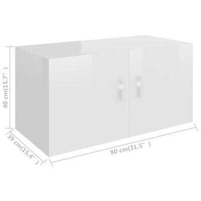 vidaXL Väggmonterat skåp vit högglans 80x39x40 cm spånskiva