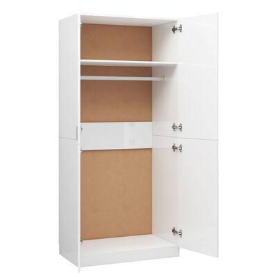 vidaXL Garderob vit högglans 90x52x200 cm spånskiva, Highglosswhite
