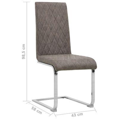 vidaXL Fribärande matstolar 2 st mörkbrun konstläder