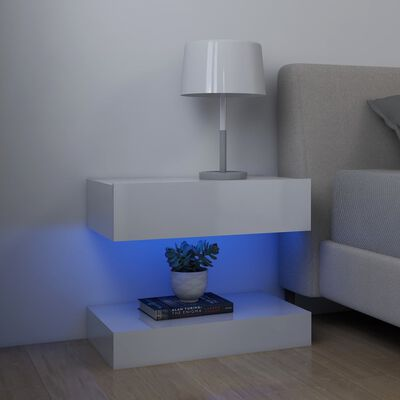 vidaXL Sängbord 2 st vit högglans 60x35 cm spånskiva