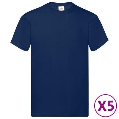 Fruit of the Loom Original t-shirt 5-pack marinblå stl. XL bomull