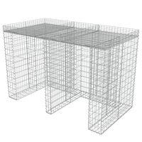 vidaXL Gabionmur för soptunnor galvaniserat stål 190x100x130 cm