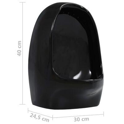vidaXL Vägghängd urinoar med spolventil keramisk svart