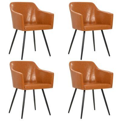 vidaXL Matstolar 4 st brun konstläder