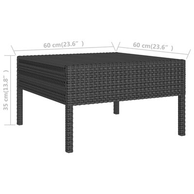 vidaXL Loungegrupp för trädgården med dynor 9 delar konstrotting svart