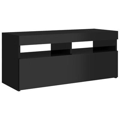 vidaXL TV-bänk med LED-belysning svart högglans 90x35x40 cm