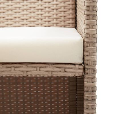 vidaXL Trädgårdssoffa 2-sits med dynor konstrotting beige