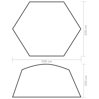 vidaXL Pooltält tyg 590x520x250 cm gul
