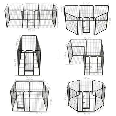 vidaXL Hundhage 8 paneler stål 80x100 cm svart