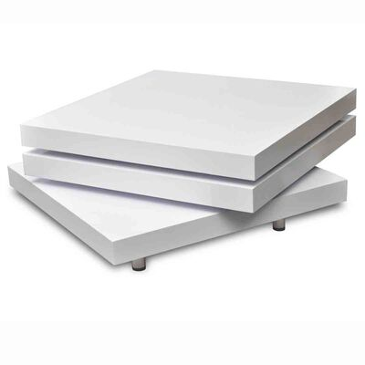 vidaXL Soffbord 3 nivåer i högglans vit