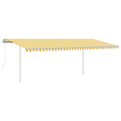 vidaXL Markis med stolpar automatisk 6x3,5 m gul och vit