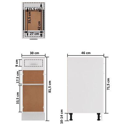 vidaXL Underskåp med låda vit 30x46x81,5 cm spånskiva