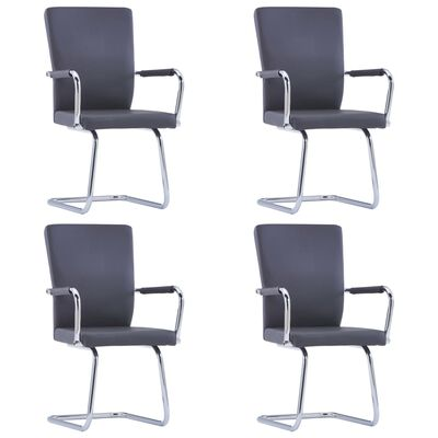 vidaXL Fribärande matstolar 4 st grå konstläder, Grey