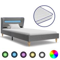 vidaXL Säng med LED och memoryskummadrass ljusgrå tyg 90x200 cm