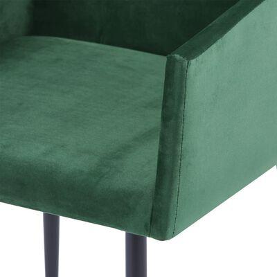vidaXL Matstolar med armstöd 2 st grön sammet