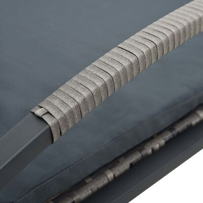 vidaXL Solsängar med bord konstrotting antracit
