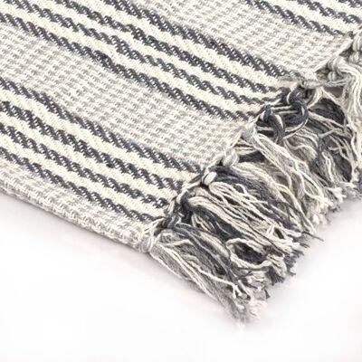 vidaXL Filt bomull ränder 220x250 cm grå och vit