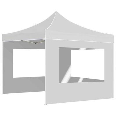 vidaXL Hopfällbart partytält med väggar aluminium 3x3 m vit