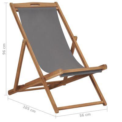 vidaXL Hopfällbar strandstol massiv teak grå
