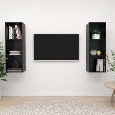 vidaXL Väggmonterade tv-skåp 2 st svart högglans spånskiva