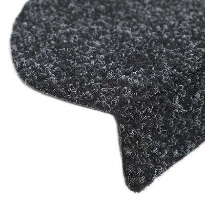 vidaXL Trappstegsmattor självhäftande 15 st brodyr 65x21x4 cm svart, Svart