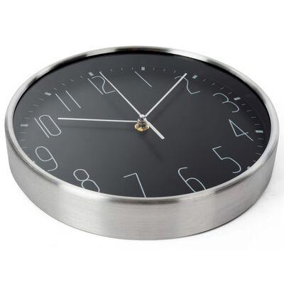 Perel Väggklocka 25 cm svart och silver,