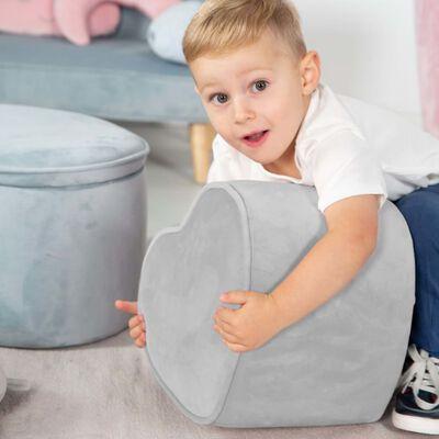 roba Hjärtformad ottoman för barn silvergrå