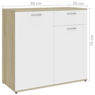 vidaXL Skänk vit och sonoma-ek 80x36x75 cm spånskiva