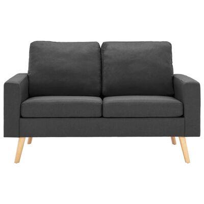 vidaXL Soffa 2-sits mörkgrå tyg