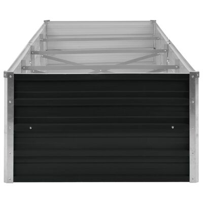 vidaXL Odlingslåda upphöjd antracit 320x80x45 cm galvaniserat stål