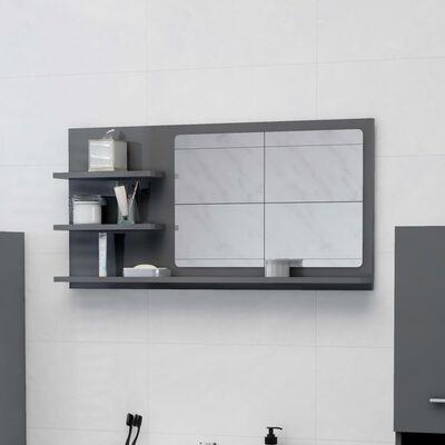 vidaXL Badrumsspegel grå högglans 90x10,5x45 cm spånskiva