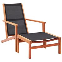 vidaXL Trädgårdsstol med fotpall massivt eukalyptusträ och textilene