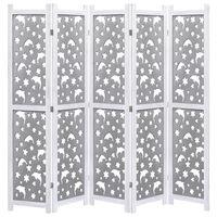 vidaXL Rumsavdelare 5 paneler grå 175x165 cm massivt trä