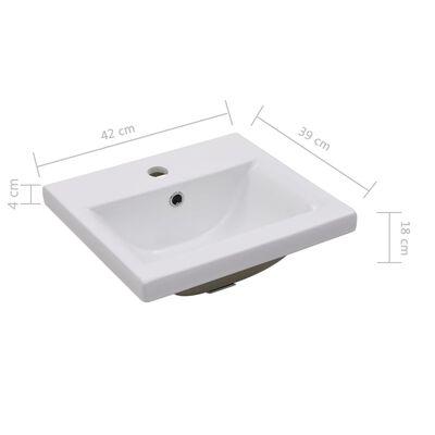 vidaXL Inbyggt handfat 42x39x18 cm keramik vit
