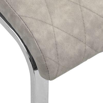 vidaXL Fribärande matstolar 2 st ljusgrå konstläder, Ljusgrå
