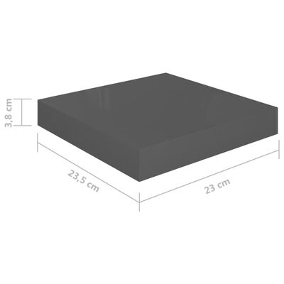 vidaXL Svävande vägghylla grå högglans 23x23,5x3,8 cm MDF