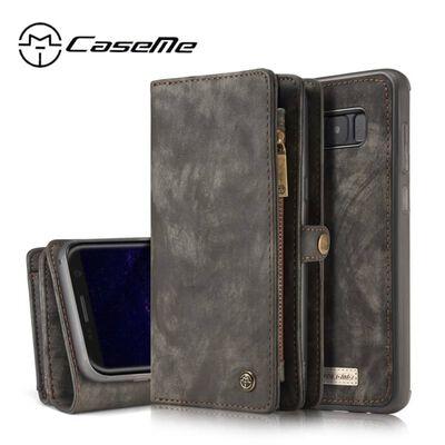 CASEME Samsung Galaxy S8 Plus Retro läder plånboksfodral - Grå