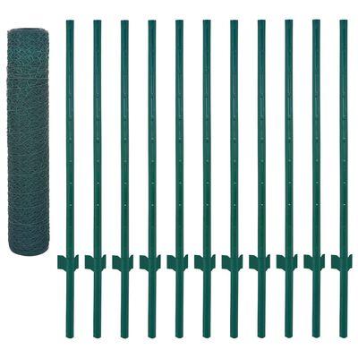 vidaXL Nätstängsel med stolpar stål 25x0,75 m grön