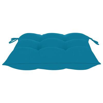 vidaXL Trädgårdsstolar med ljusblå dynor 8 st massiv teak