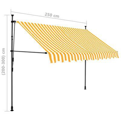 vidaXL Markis manuellt infällbar med LED 250 cm vit och orange